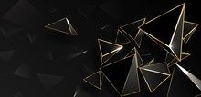 Abstract Black And Gold Polygonal Background