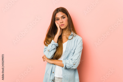 Fototapeta Young slim woman who is bored, fatigued and need a relax day. obraz na płótnie