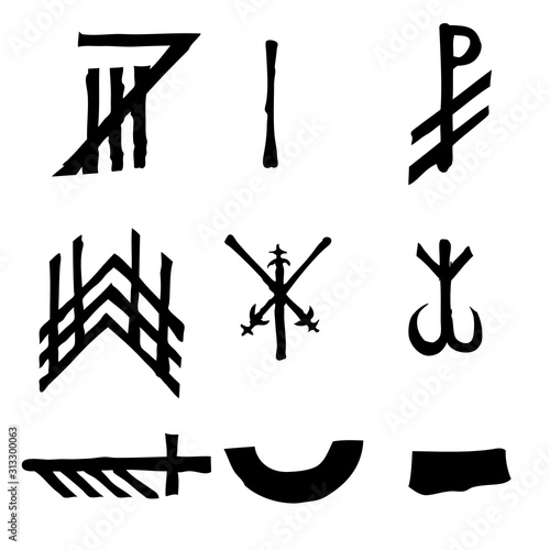 Photo  Wiccan symbols imaginary cross symbols, inspired by antichrist pentagram and witchcraft