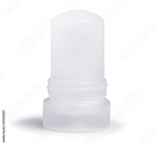Photo natural organic deodorant, mineral alum crystal stick on white background isolat