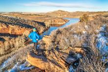 Male Hiker On A Sandstone Clif...