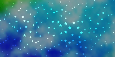 Dark Blue, Green vector background with small and big stars. Shining colorful illustration with small and big stars. Pattern for websites, landing pages.
