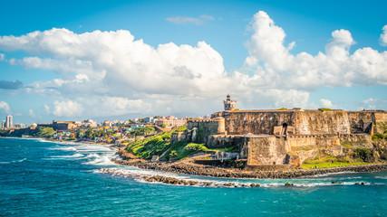 Panoramic landscape of historical castle El Morro along the coastline, San Juan, Puerto Rico.