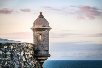 Sunset at El Morro castle at old San Juan, Puerto Rico.