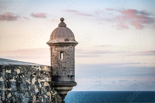 Obraz na plátne Sunset at El Morro castle at old San Juan, Puerto Rico.