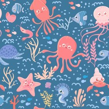 Marine Seamless Pattern Of Sea...