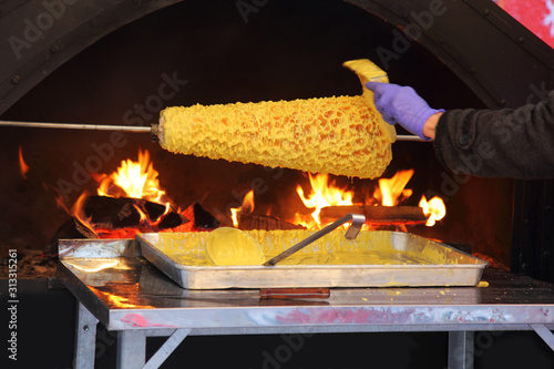 Fényképezés Sakotis or raguolis, tree cake or branchy pastry,  spit cake, cooked on open fire