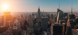 Fototapeta Nowy Jork - Aerial view of the large and spectacular buildings in New York City at sunrise- Panoramic Landscape