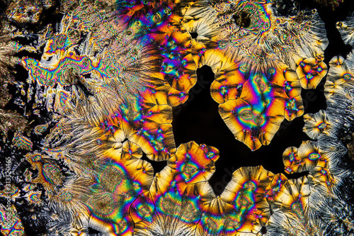 Extreme macro photograph of Vitamin C crystals forming abstract modern art patte Wallpaper Mural