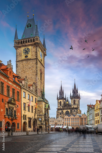 Photo Prague, Czech Republic - The Old Town Square with Old City Hall building with th