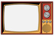 Vintage TV On A White Backgrou...