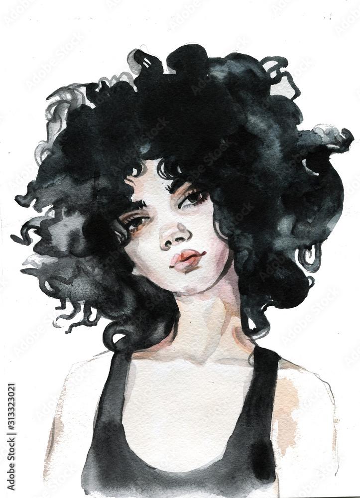 Young female brunette portrait hand drawn watercolor illustration