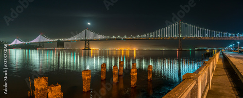 Photo Wide Angle Panorama of the Oakland Bridge at Night from Downtown San Francisco