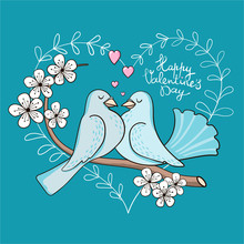 A Couple Of Cute Cartoon Doves...