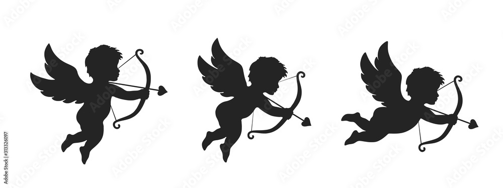 Fototapeta cupid icon set. love and valentine's day symbol. Cupid shooting arrow