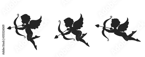 Cute cupid icon set Fototapeta