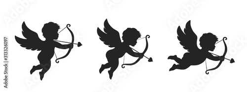 Photo cupid icon set