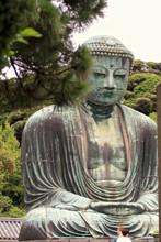 Kamakura, Japan - July 27, 2019: Monumental Bronze Statue Of The Great Buddha In Kamakura
