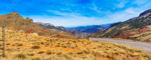 Widok krajobraz gór Atlas, Maroko, Afryka Północna.