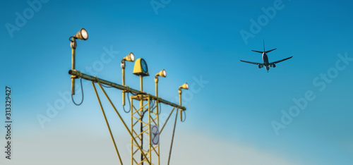 Drone zone sign on approach lighting system at runway Canvas Print