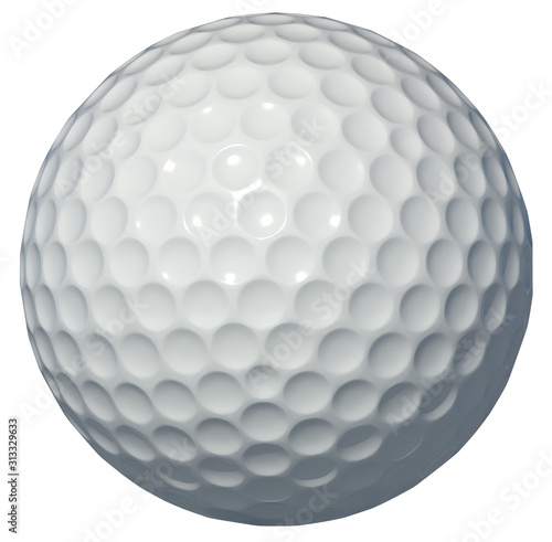 Canvastavla Golf ball isolated on white background 3d rendering