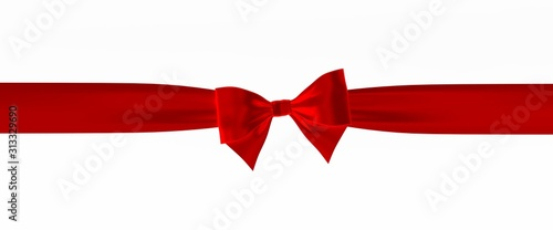 Fotografía  Red ribbon and bow isolated on white background