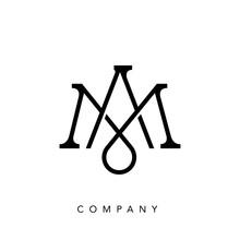 Elegant Line Curve Vector Logotype. Premium Letter MA Or AM Logo Design. Luxury Linear Creative Monogram.