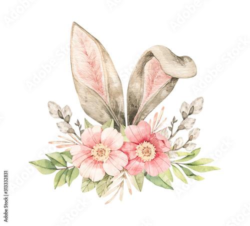 Leinwand Poster Watercolor botanical illustration