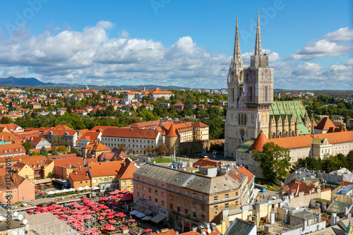 Aerial view of the Zagreb Cathedral and Dolac market.