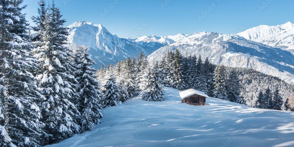 Obraz Panorama einer Winterlandschaft mit Skihütte im Zillertal fototapeta, plakat