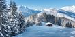 Panorama einer Winterlandschaft mit Skihütte im Zillertal
