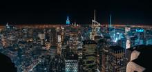 Amazing Panorama View Of New York City Skyline And Skyscraper At Night. Beautiful Night View In Midtown Manhattan.