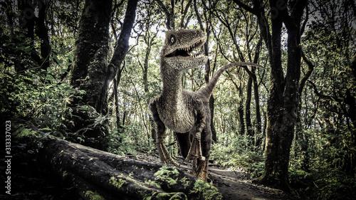 Velociraptor Dinosaur  in the  Rainforest Canvas Print