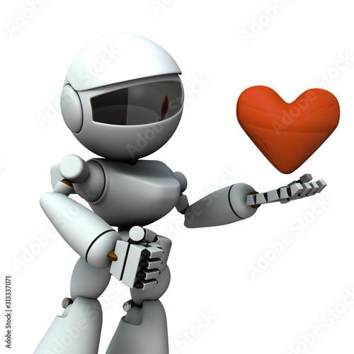 Photo 興味深くハートを見つめるロボット