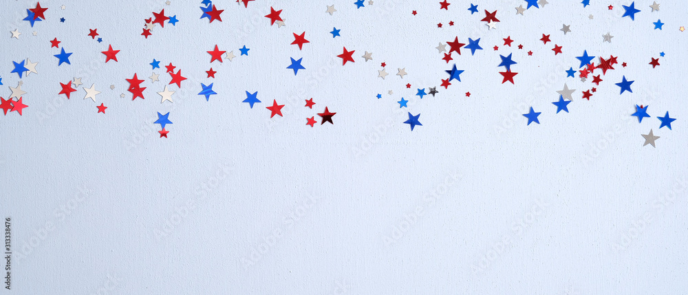 Fototapeta Happy Presidents Day banner mockup with confetti stars. USA Independence Day, American Labor day, Memorial Day, US election concept.