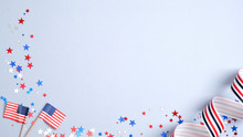Happy Presidents Day Banner Mockup With American Flags, Confetti And Ribbon. USA Independence Day, American Labor Day, Memorial Day, US Election Concept.