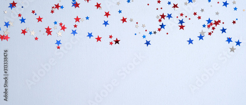 Obraz Happy Presidents Day banner mockup with confetti stars. USA Independence Day, American Labor day, Memorial Day, US election concept. - fototapety do salonu
