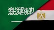 Saudi Arabia Egypt national flags. News, reportage, business background. 3D illustration