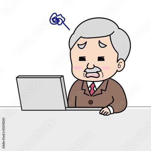 パソコン作業で間違えて困ってる年配男性