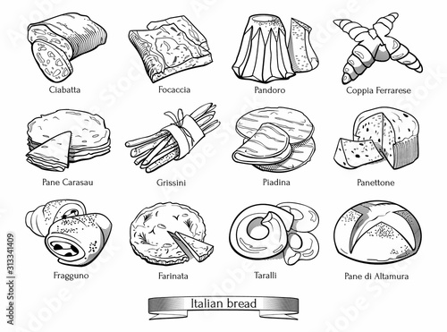 Collection Of Traditional Italian Types Of Bread Hand Drawn Sketch In Doodle Style Buy This Stock Vector And Explore Similar Vectors At Adobe Stock Adobe Stock