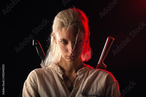 Fototapeta woman with knives