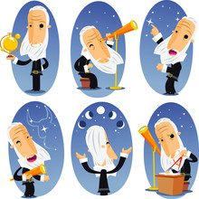Astronomer Cartoon Set