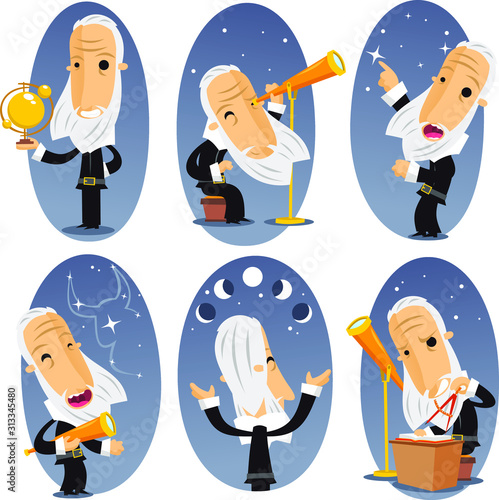 Photo astronomer cartoon set