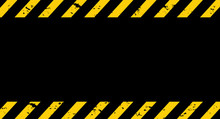 Black And Yellow Line Striped. Under Construction Grunge Background. Vector Illustration