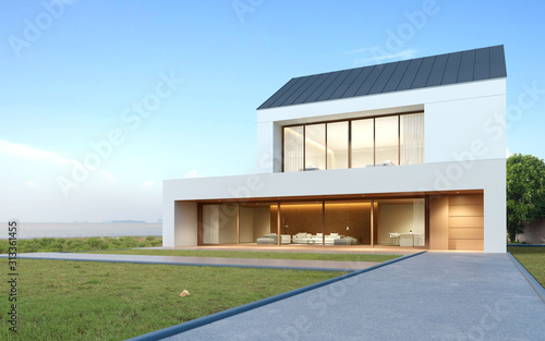 Perspective Of Modern Luxury Building With Wood Terrace And Grass Field On Sea View Background Double Floor Of Housing With Metal Roof Design 3d Rendering Buy This Stock Illustration And Explore Similar