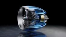 Jet Engine Inside On Dark Back...