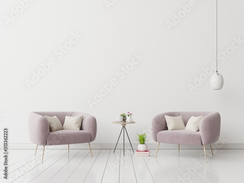 Photo Interior with velvet armchair on empty white wall background.