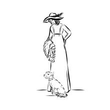 Elegant Vintage Woman With Dog...
