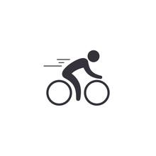 Cyclist Icon. Simple Flat Logo...