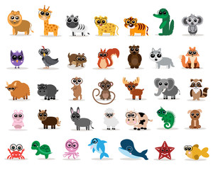 A set of domestic, wild and marine animals will help you decorate the book, make stickers or badges.